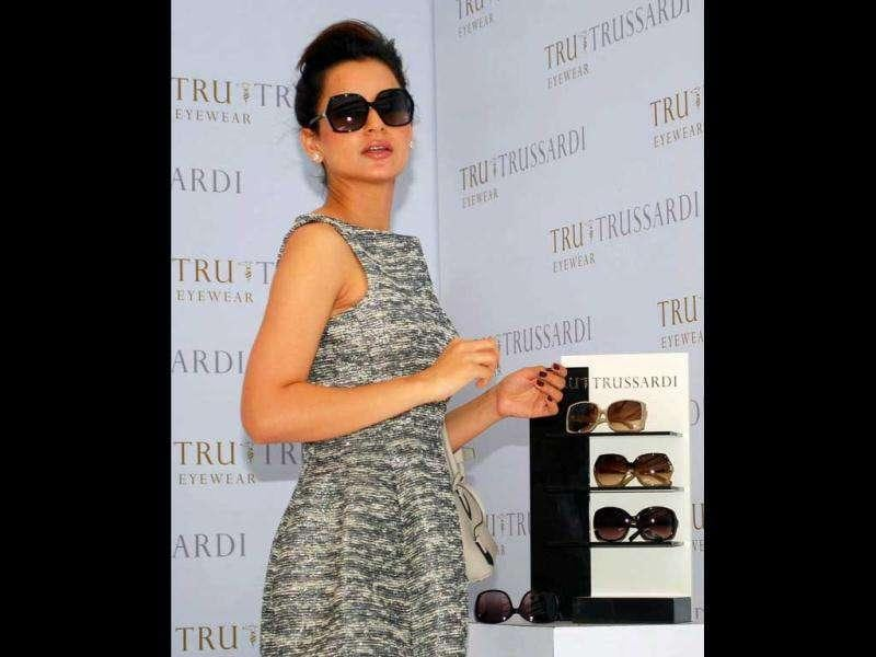 Kangana Ranaut was spotted at a promotional event for Tru Trussardi Eyewear in Mumbai. (AFP)