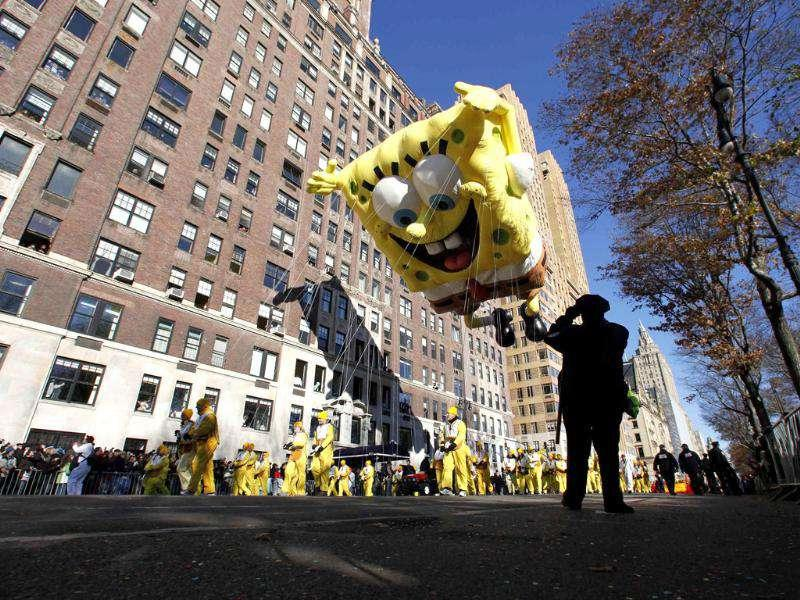 The SpongeBob SquarePants balloon floats down Central Park West during the 85th Macy's Thanksgiving day parade in New York.