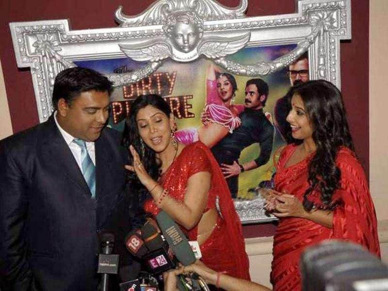 Vidya Balan along with TV actors Ram Kapoor and Saakshi Tanwar.