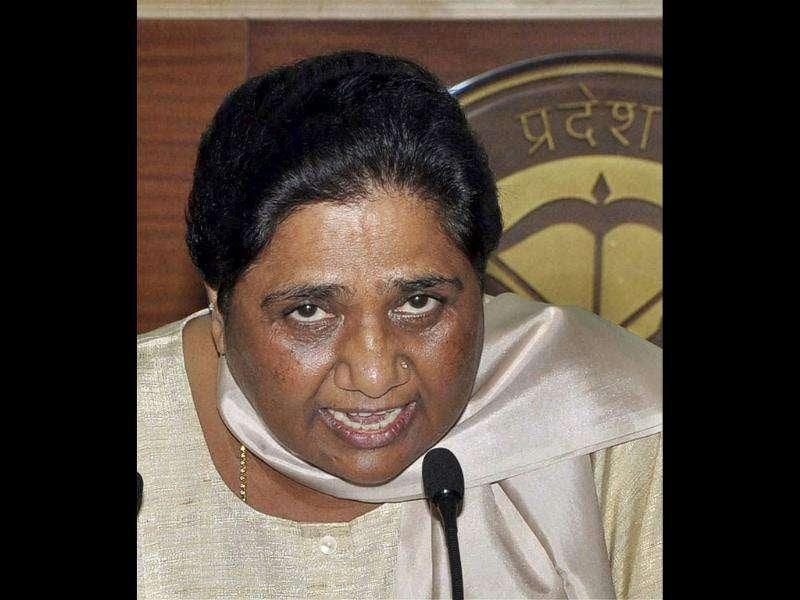 UP chief minister Mayawati addresses a press conference in Lucknow.