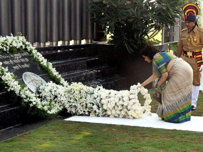 Kavita Karkare, Smita Salaskar and Manasi Shinde pay tributes to the victims of 26/11 Mumbai terror attacks its 3rd anniversary in Mumbai.