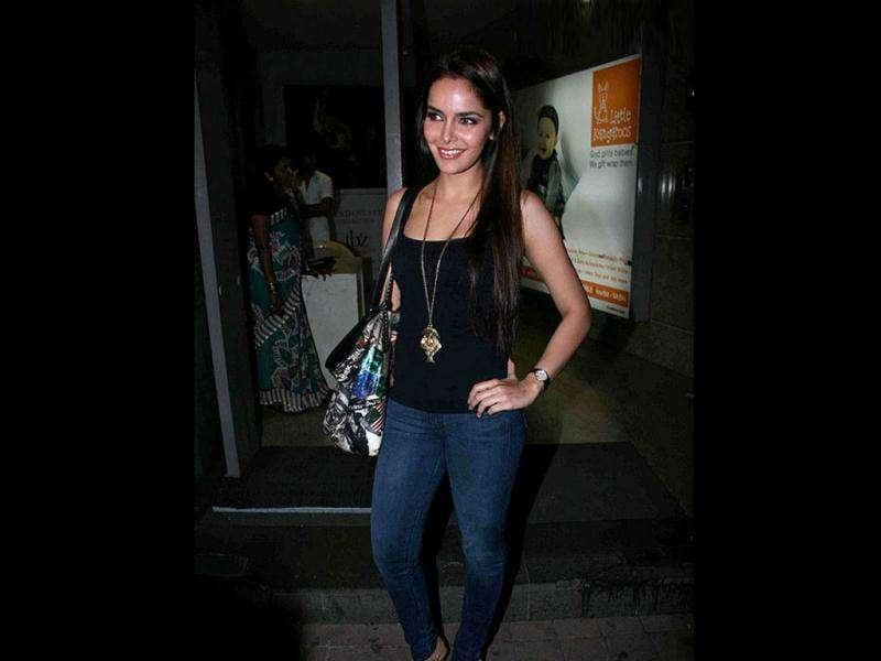 Shazahn Padamsee dons a cool look in a black ganji over denims.