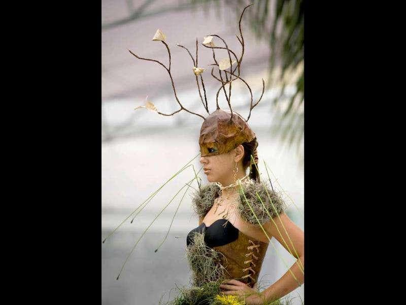 A model presents a creation by Colombian designer Angelo Restrepo during the Biofashion Habitat show in Cali, Valle del Cauca department, Colombia.