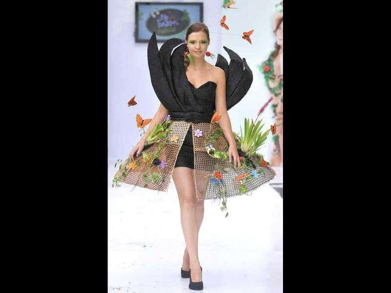 A model wears a creation by Colombian designer Andres Martinez during the Biofashion show in Cali, Colombia.