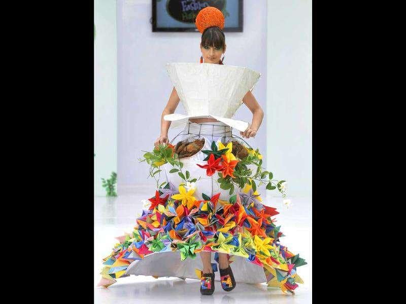 A model wears a creation by Colombian designer Paco Diaz during the Biofashion show in Cali, Colombia.