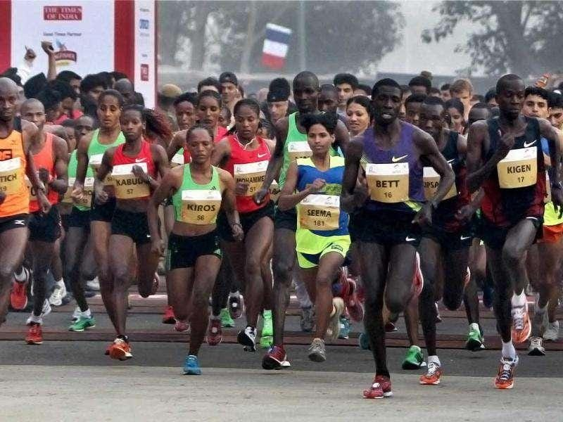 Athletes participate at the Airtel Delhi Half Marathon 2011 in New Delhi.