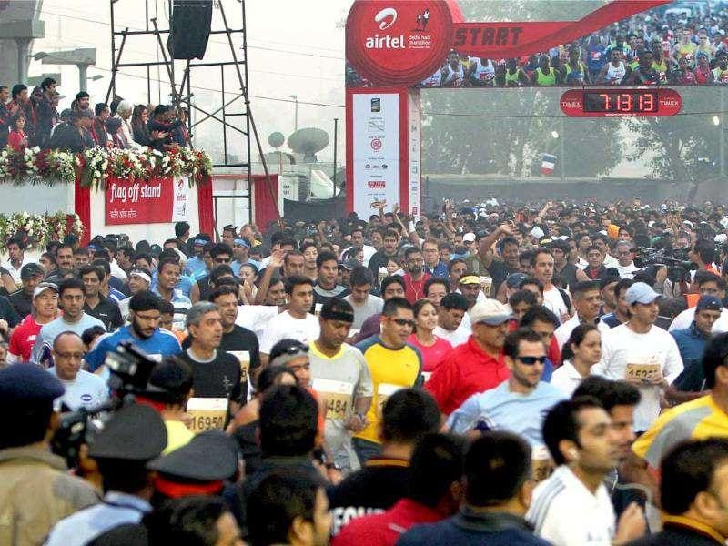 International and Indian athletes participate at the Airtel Delhi Half Marathon 2011 in New Delhi.