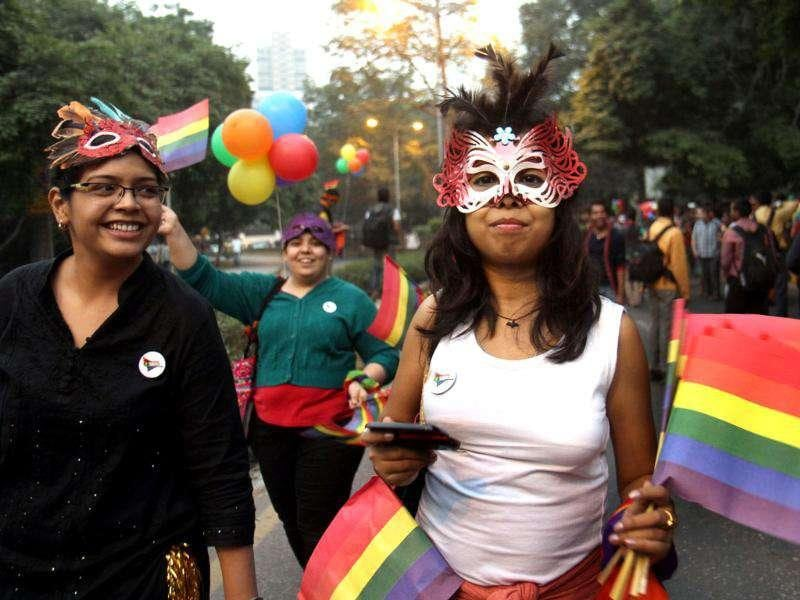 Hundreds joined the fourth edition of the Gay Pride Parade in New Delhi. HT Photo by Mohd Zakir
