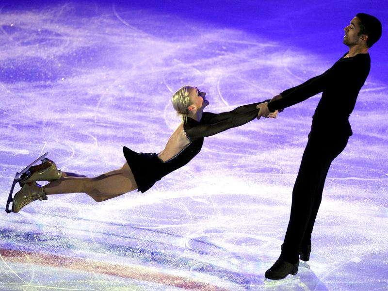 Aliona Savchenko and Robin Szolkowy of Germany perform during a Gala exhibition at the figure skating Grand Prix in Moscow.