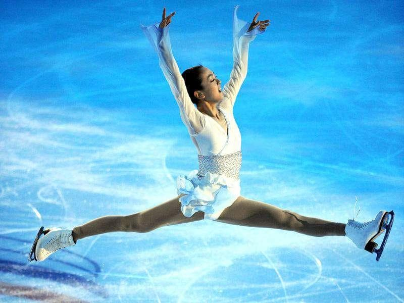Mao Asada of Japan performs during a Gala exhibition at the figure skating Grand Prix in Moscow.