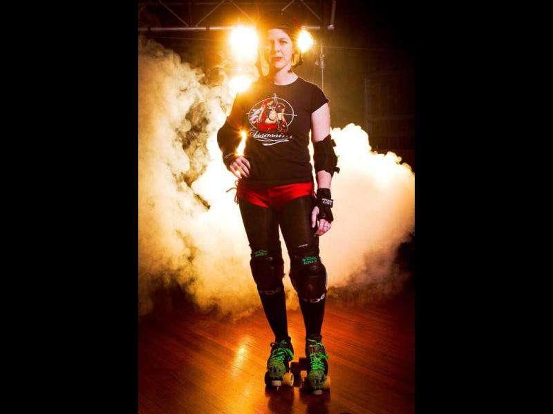 Handout photo taken by Angelo Kehagias shows the Sydney Assassins roller derby member known as Haterade in Sydney.