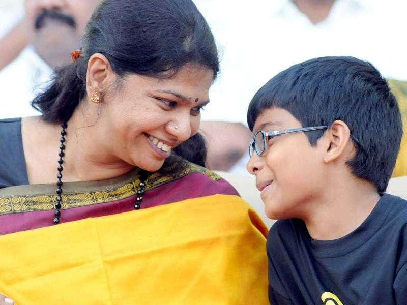 Kanimozhi with her son, Aditya, before her arrest. (File photo)