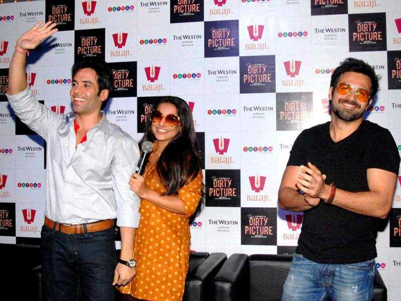 Vidya, Tusshar and Emraan at a promotional event in Delhi. (Photo: UNI)