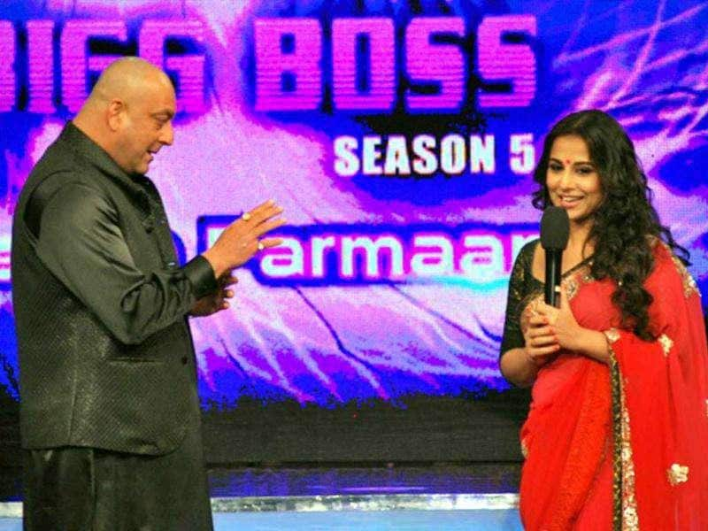 Vidya Balan with Sanjay Dutt on Colors' controversial reality show Bigg Boss. (Photo: UNI)