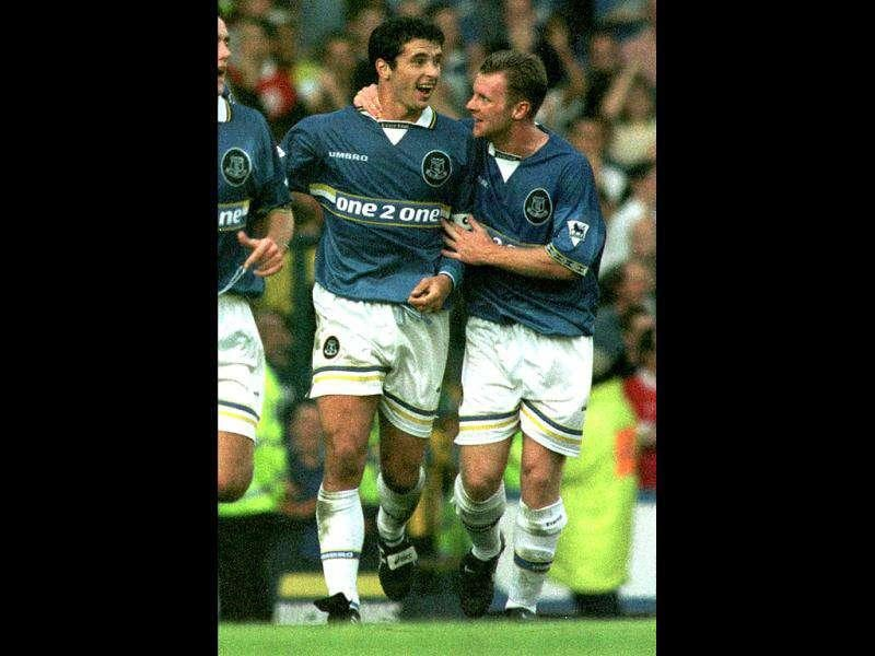 Everton soccer star Gary Speed (L) celebrates his first goal against Liverpool with team mate Graham Stuart. The Derby game at Goodison Park today is part of the FA Carling Premiership. Gary Speed, the manager of the Wales national team, was found dead on Sunday at the age of 42, the Football Association of Wales (FAW) said in a statement on Sunday. Reuters