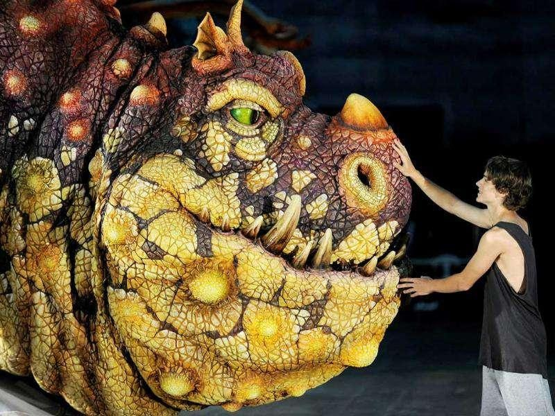 Rarmian Newton (R) who plays the lead role of Hiccup, touches Gronckle, a dragon from the live entertainment event How To Train Your Dragon Arena Spectacular is shown to the media in Sydney. AFP Photo/Greg Wood