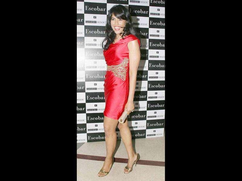 Sameera Reddy too was spotted in red at Ganesh Hegde's birthday party.