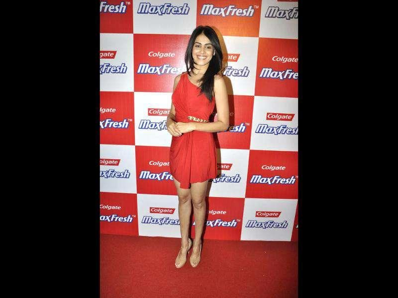 It's good that the colour red suits the bride-to-be Genelia D'souza. (PTI)