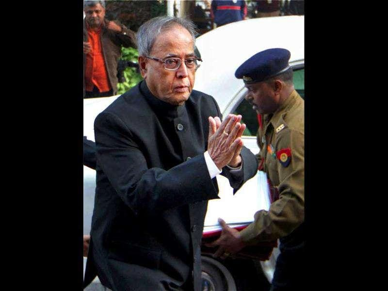 Union finance minister Pranab Mukherjee arrives to attend the all-party meeting to discuss the issue of Foreign Direct Investment (FDI) in the retail sector at Parliament House in New Delhi.