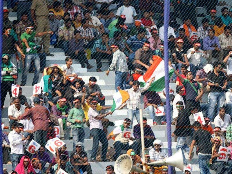 Enthusiastic crowd enjoying the first ODI match between India and WI at Barabati Stadium in Cuttack, Orissa. Ht Photo/Subhendu Ghosh
