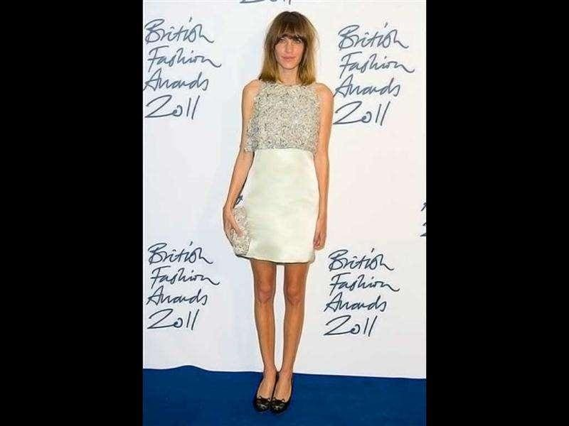 Alexa Chung in an out-of-bed look, though the dress definitely looks party. (AP)