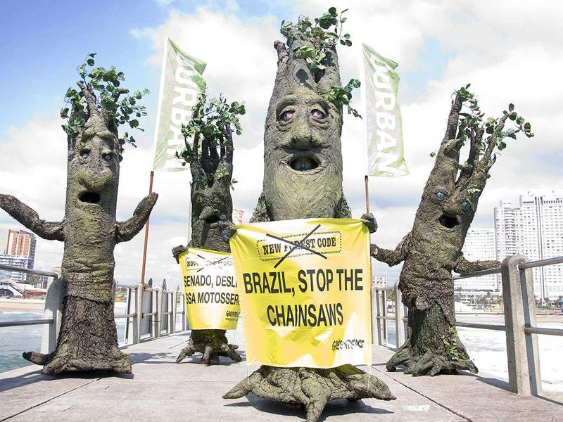 In this image made available by Greenpeace, activists dressed as trees protest the deforestation of the Amazon jungle in Brazil in Durban, South Africa, on the second day of the two-week UN climate conference attended by 192 parties seeking agreement on future action to curb climate change.