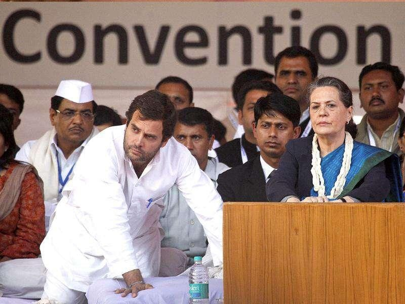 Sonia Gandhi and Rahul Gandhi take part in a Youth Congress party convention in New Delhi.