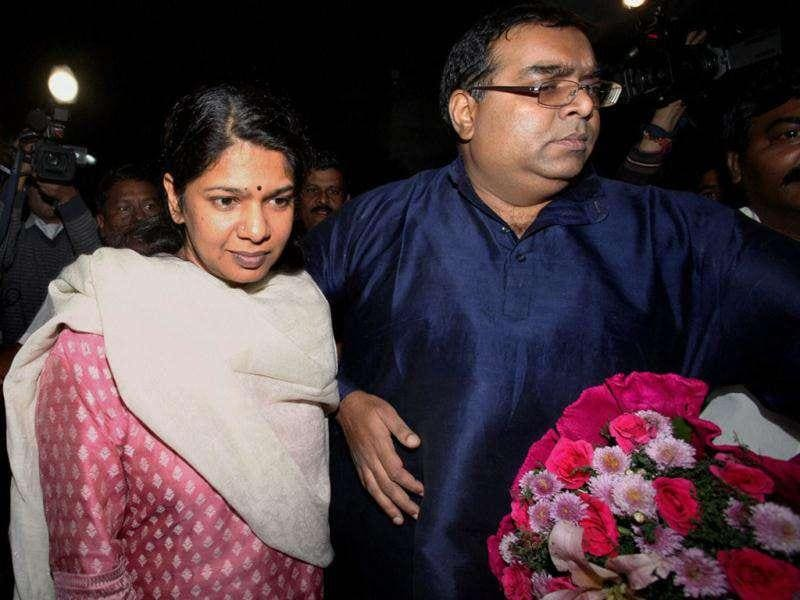 DMK MP Kanimozhi with her husband Arvindan at her residence after her release from Tihar jail in New Delhi.