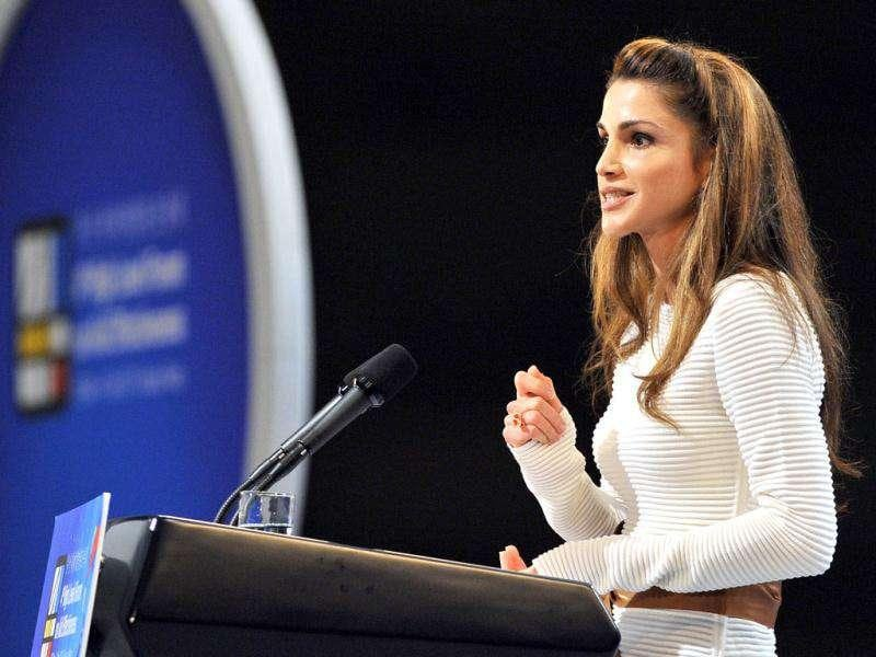 Jordan Queen Rania delivers a speech during the opening ceremony of the Fourth High Level Forum on Aid Effectiveness in the southeastern port city of Busan. AP