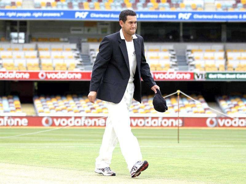 New Zealand captain Ross Taylor inspects the wicket ahead their first Test cricket match against Australia at the Gabba in Brisbane. Reuters