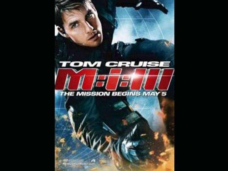 Movie poster shows Tom Cruise in action.