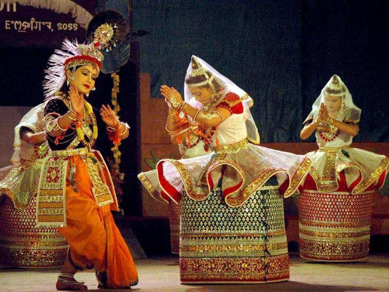 School Children performing during the Sangai Tourism Festival 2011 in Imphal a night before a bomb exploded in the area.
