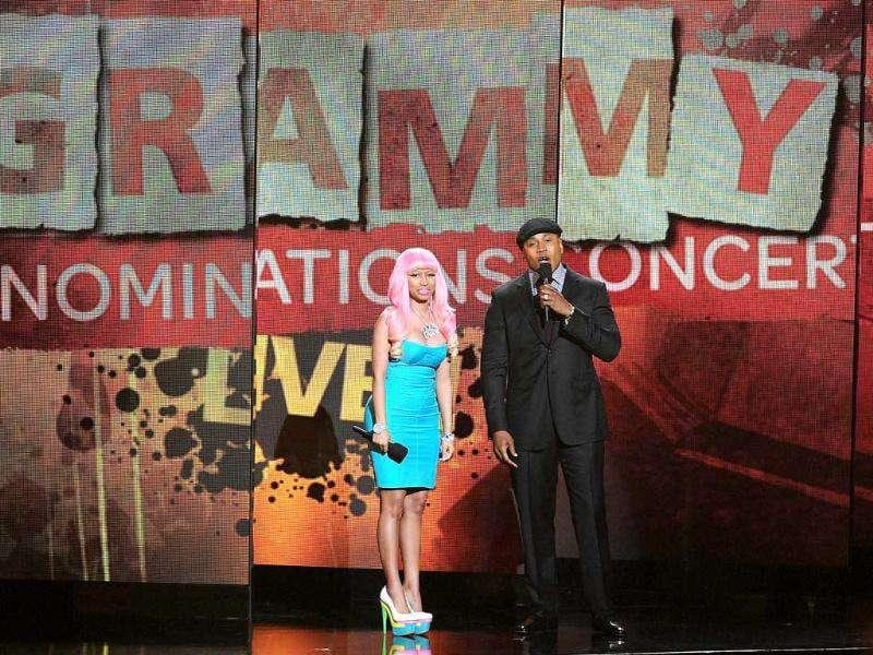 Singer Nicki Minaj performs with LL Cool J at the Grammy Nominations Concert in Los Angeles.