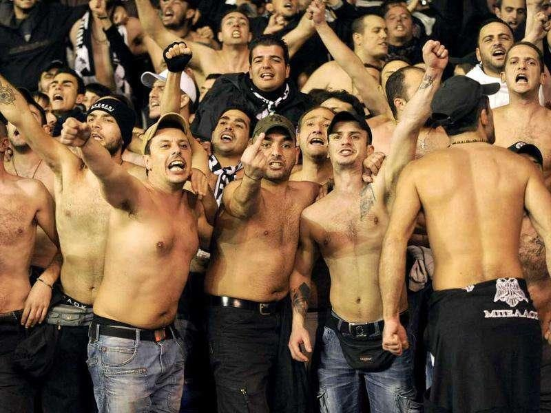 PAOK Salonika fans are pictured before the Europa league Group A soccer match against Tottenham Hotspur at White Hart Lane in London.