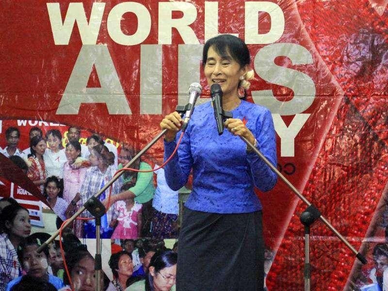 Opposition leader and Nobel peace laureate Aung San Suu Kyi delivers her speech during an event to mark World AIDS Day cerebration at National League for Democracy party's headquarters.