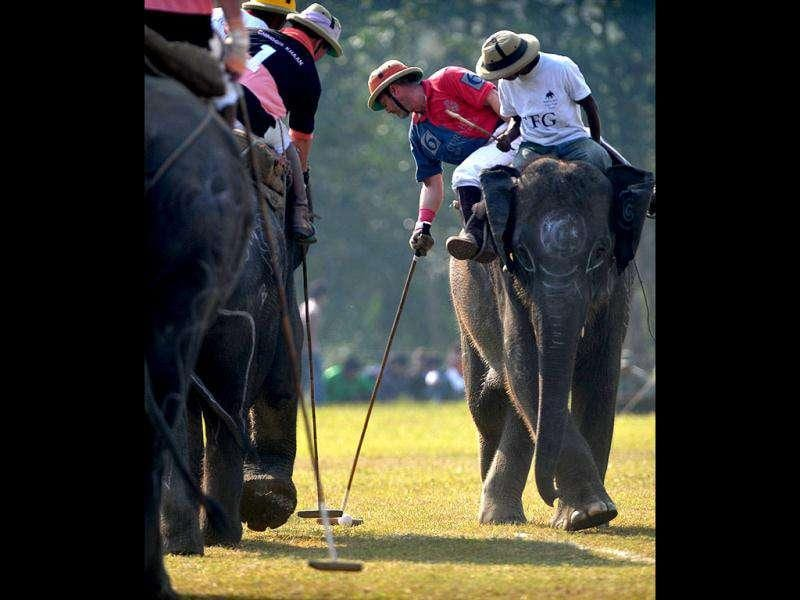 Elephant polo players from Rusty Kukris (2R) and Chinggis Khaan (L) vie for the ball during the 30th International Elephant Polo Competition at Meghauly in Chitwan District, Kathmandu.