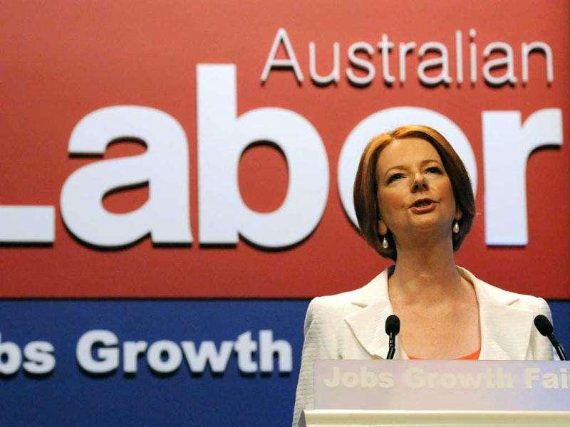 Julia Gillard makes her first address as Australian Prime Minister to the 46th national conference of the Australian Labor Party (ALP) in Sydney. (AFP/Torsten Blackwood)