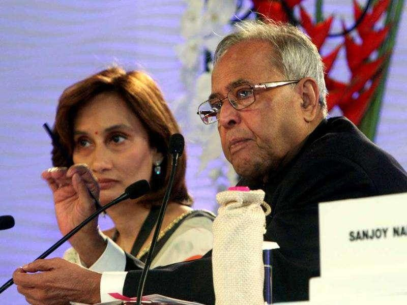 Pranab Mukherjee with Shobhna Bhartia, chairperson and editorial director of HT Media Ltd, at the HT Leadership Summit 2011.