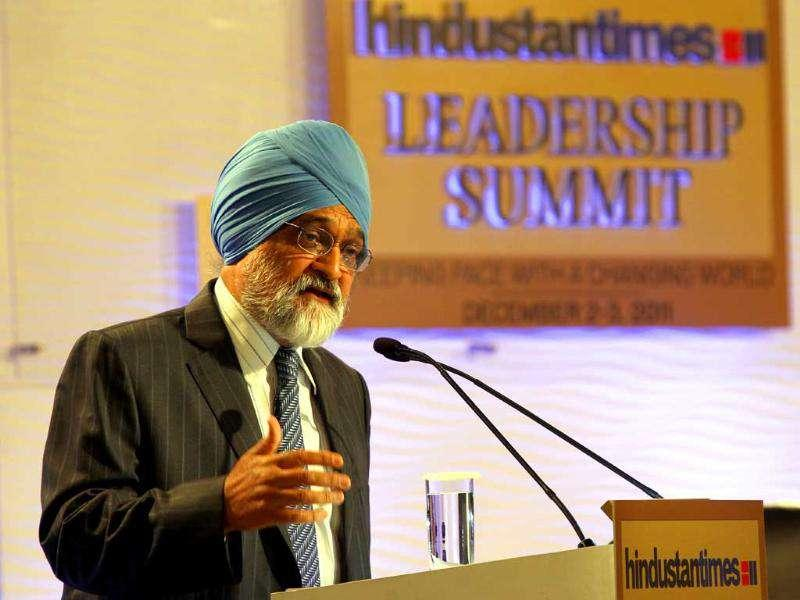 Montek Singh Ahluwalia, deputy Chairman, Planning Commission of India, at the HT Leadership Summit 2011 in New Delhi. HT Photo/Sanjeev Verma