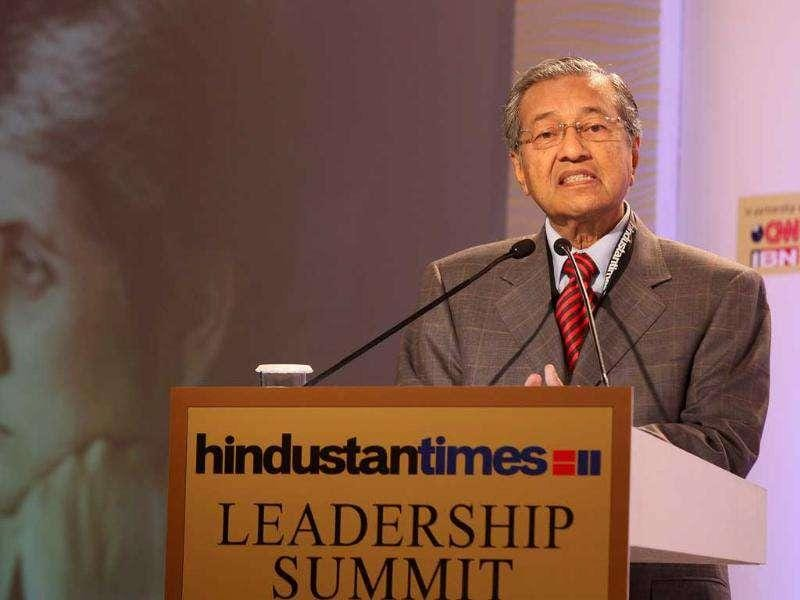 Tun Dr. Mahathir Bin Mohamad, former Prime Minister of Malaysia at the HT Leadership Summit 2011 in New Delhi. HT Photo