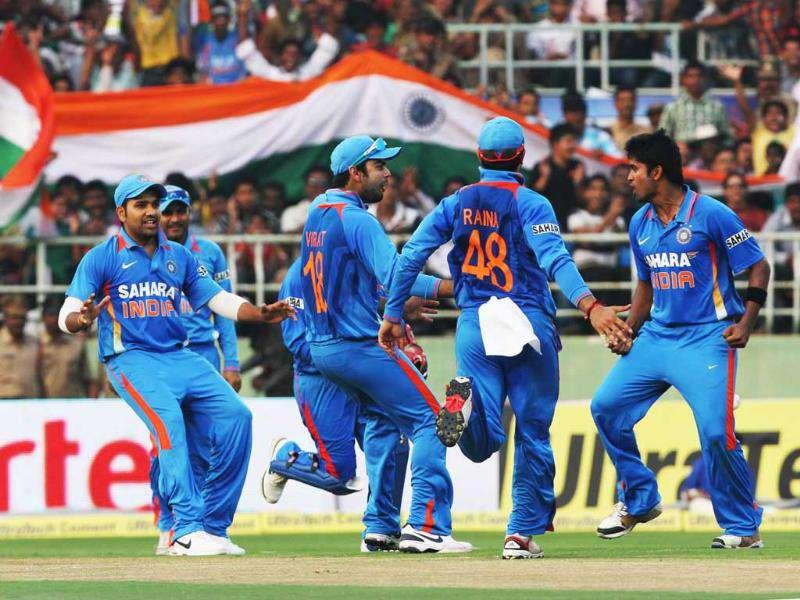 Indian players celebrate after clinching Danza Hyatt's wicket in the 2nd ODI against West Indies, at Dr YS Rajasekhara Reddy Cricket Stadium.