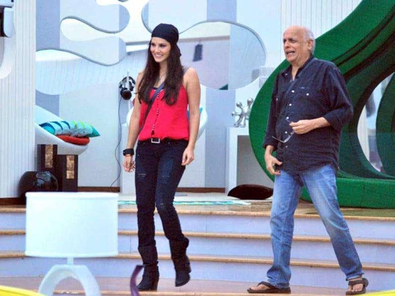 Sunny Leone and Mahesh Bhatt come out of confession room.