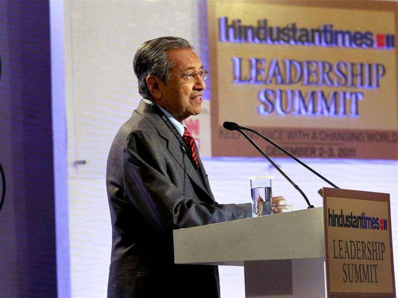 Former Malaysian prime minister Mahathir Bin Mohamad addresses the Hindustan Times Leadership Summit 2011 in New Delhi. PTI/Atul Yadav
