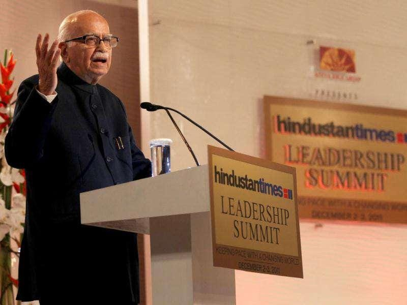 Senior BJP leader LK Advani addresses the HT Leadership Summit 2011 in New Delhi. HT/Ajay Aggarwal