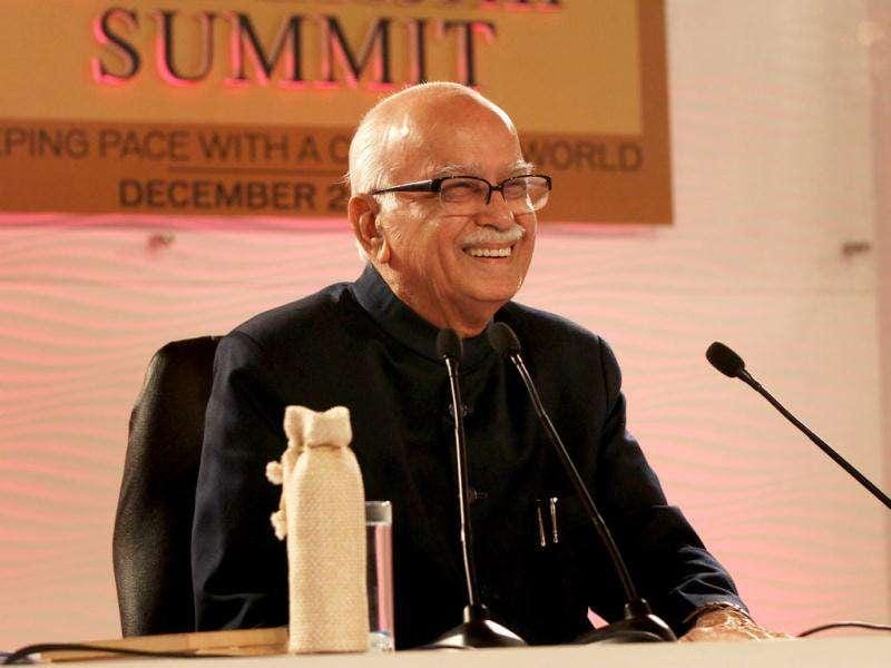 Senior BJP leader LK Advani answering questions during HT Leadership Summit 2011 at The Taj Palace Hotel in New Delhi. HT Photo: Ajay Aggarwal