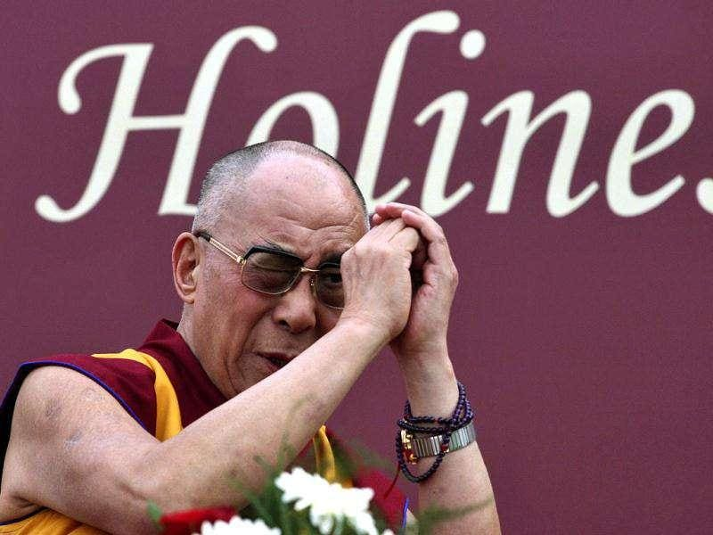 Tibetan spiritual leader the Dalai Lama attends a function in honour of him held by a school in New Delhi.