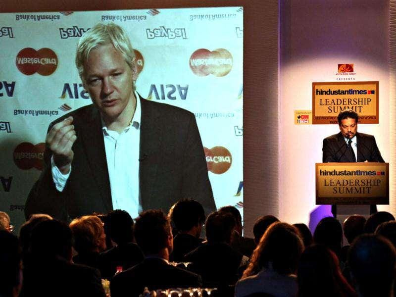 Julian Assange, WikiLeaks founder, during the video conference with, Hindustan Times, advisor, Vir Sanghvi during the HT Leadership Summit 2011 at The Taj Palace Hotel in New Delhi. HT Photo: Jasjeet Plaha