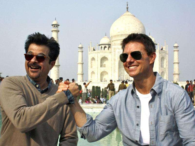 Tom Cruise's date with India would have been incomplete without Taj Mahal. The actor in India to promote MI4, visited Agra with co-star Anil Kapoor. Needless to say the Hollywood hottie charmed one and all. Check out the pics.