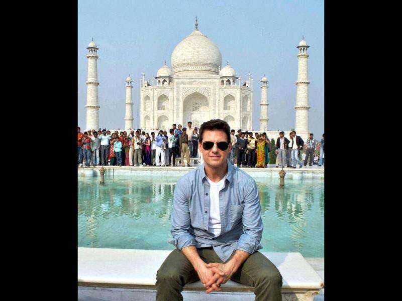 Tom Cruise poses in front of the historic Taj Mahal in Agra. (PTI)