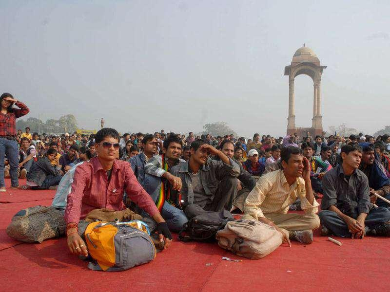 Physically challenged people from across the country at India Gate on the occasion of World Disability Day in New Delhi. UNI